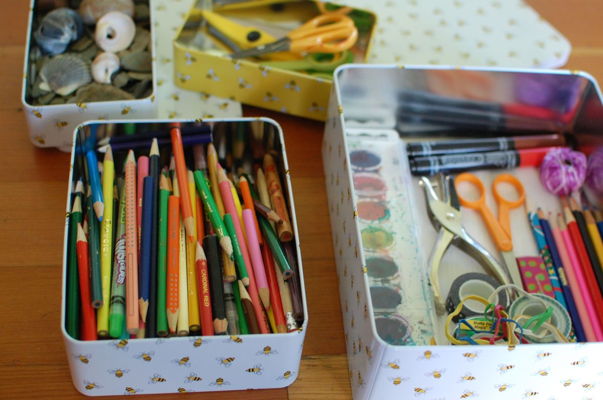 Storing your kids artwork for later.